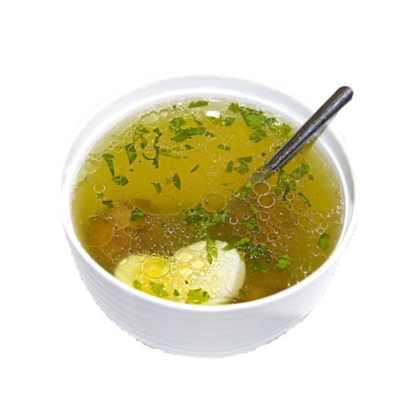 Бульк (бульон с фрикадельками и перепелиным яицом)